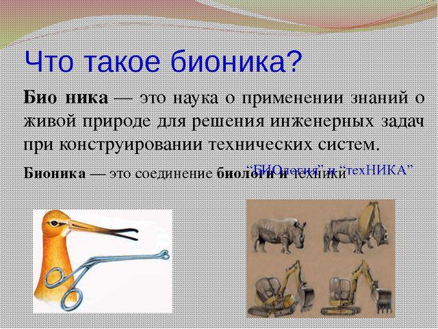 Что такое бионика? Био́ника— это наука о применении знаний о живой природе д...