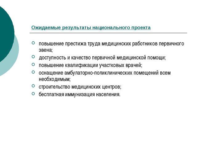 Ожидаемые результаты национального проекта повышение престижа труда медицинск...