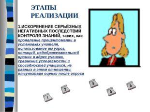 ЭТАПЫ РЕАЛИЗАЦИИ 1.ИСКОРЕНЕНИЕ СЕРЬЁЗНЫХ НЕГАТИВНЫХ ПОСЛЕДСТВИЙ КОНТРОЛЯ ЗНАН