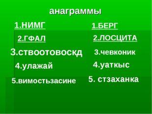 анаграммы 2.ГФАЛ 1.БЕРГ 1.НИМГ 2.ЛОСЦИТА 3.ствоотовоскд 3.чевконик 4.улажай