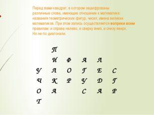 Перед вами квадрат, в котором зашифрованы различные слова, имеющие отношение