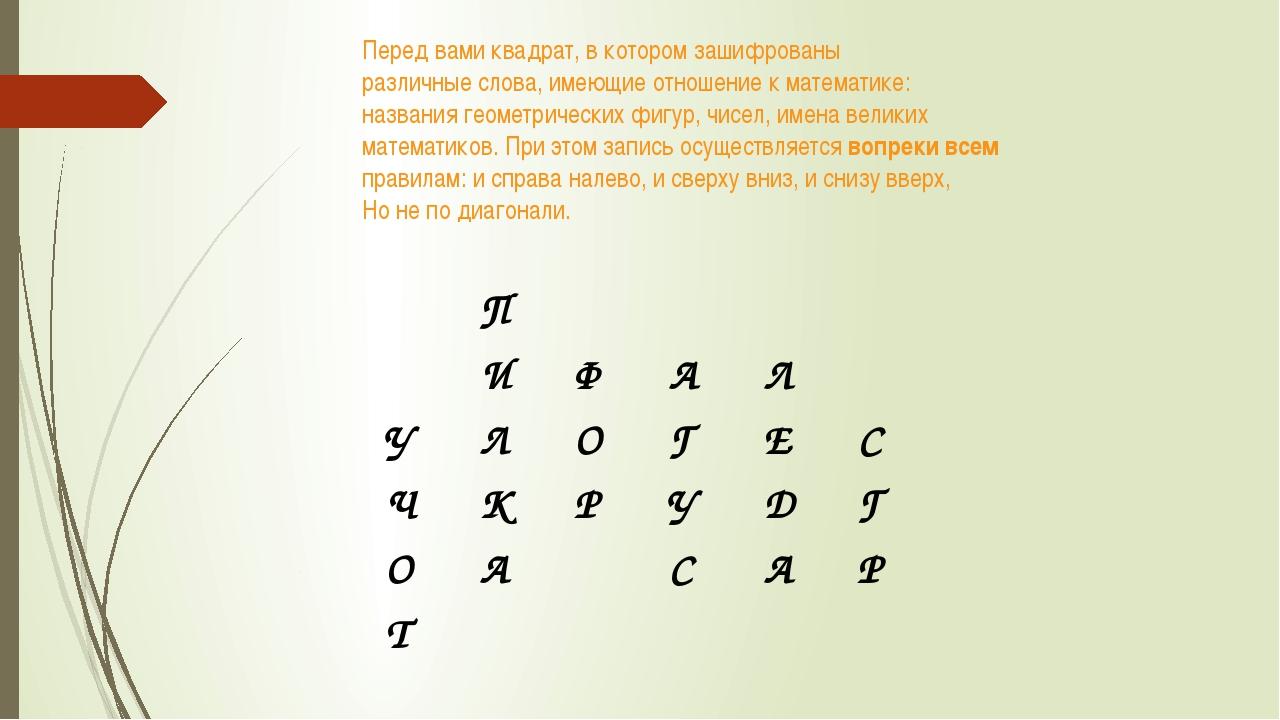 Перед вами квадрат, в котором зашифрованы различные слова, имеющие отношение...