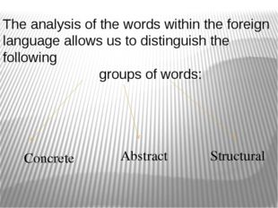 The analysis of the words within the foreign language allows us to distinguis