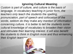 Ignoring Cultural Meaning Custom is part of culture, and culture is the basi