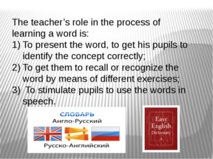 The teacher's role in the process of learning a word is: To present the word