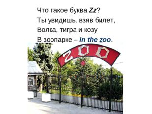 Что такое буква Zz? Ты увидишь, взяв билет, Волка, тигра и козу В зоопарке –