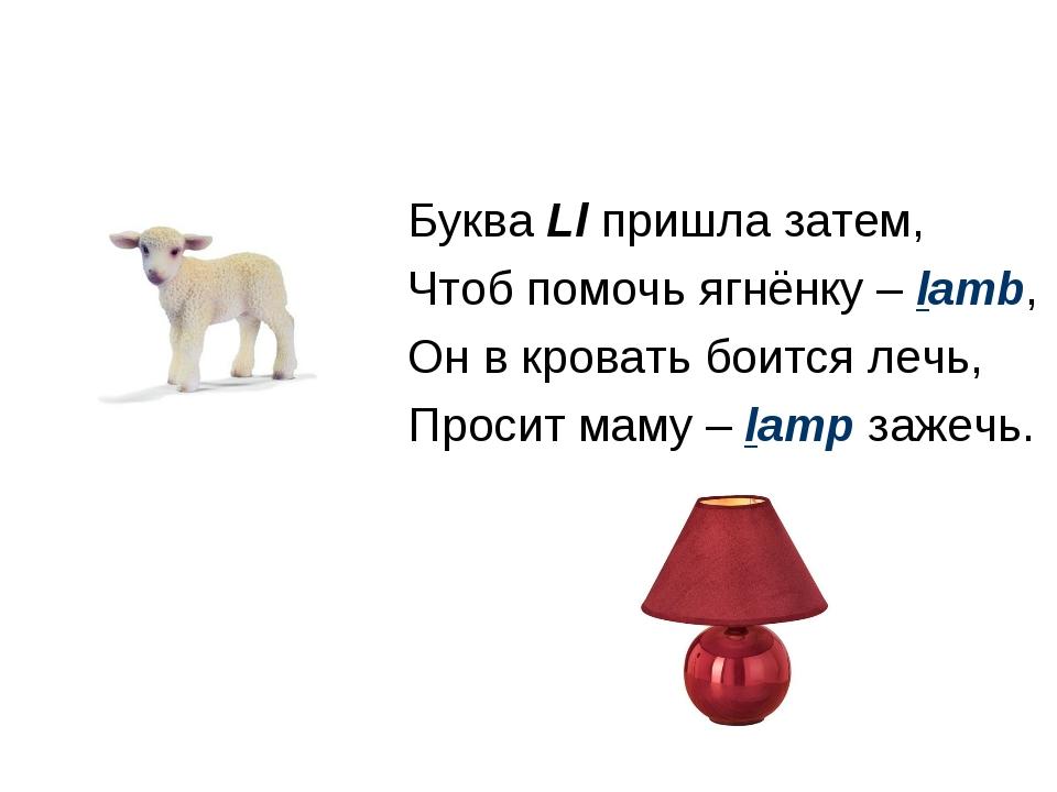 Буква Ll пришла затем, Чтоб помочь ягнёнку – lamb, Он в кровать боится лечь,...