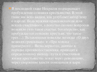 В последней главе Некрасов подчеркивает пробуждение сознания крестьянства. В