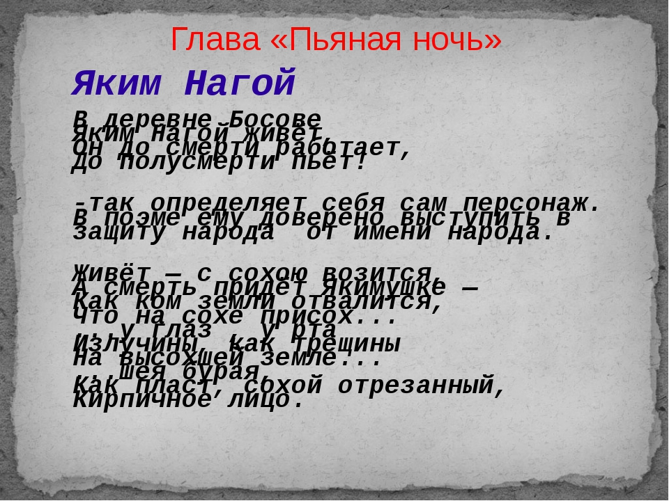 Глава «Пьяная ночь» Яким Нагой В деревне Босове Яким Нагой живёт, Он до смерт...