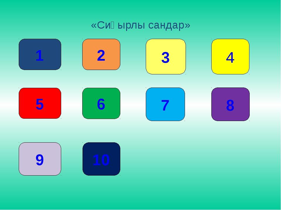 «Сиқырлы сандар» 1 2 3 5 6 7 9 10 8 4