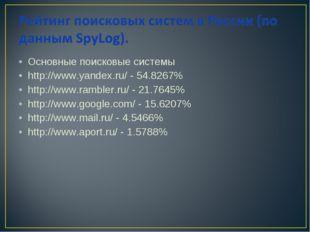 Основные поисковые системы http://www.yandex.ru/ - 54.8267% http://www.ramble