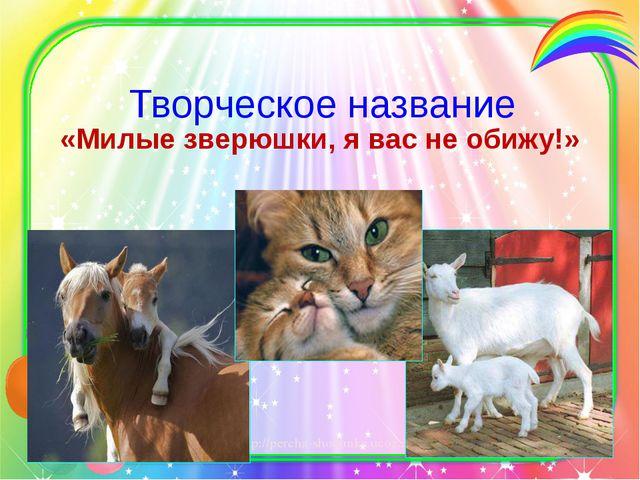 Творческое название «Милые зверюшки, я вас не обижу!» http://percha-shodunka....
