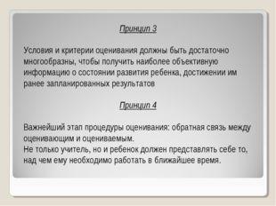 Принцип 3 Условия и критерии оценивания должны быть достаточно многообразны,