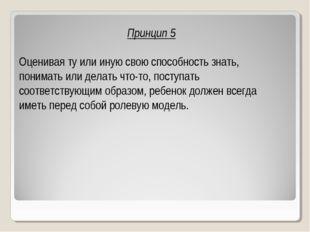 Принцип 5 Оценивая ту или иную свою способность знать, понимать или делать чт