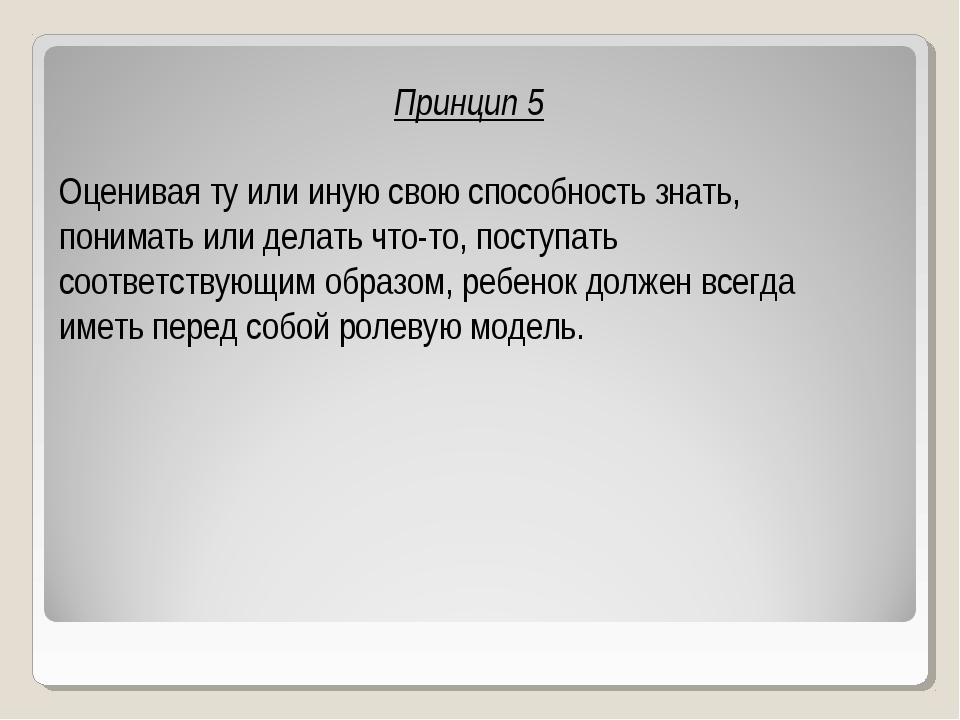 Принцип 5 Оценивая ту или иную свою способность знать, понимать или делать чт...
