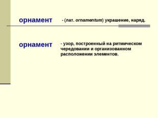 - (лат. ornamentum) украшение, наряд. - узор, построенный на ритмическом чер