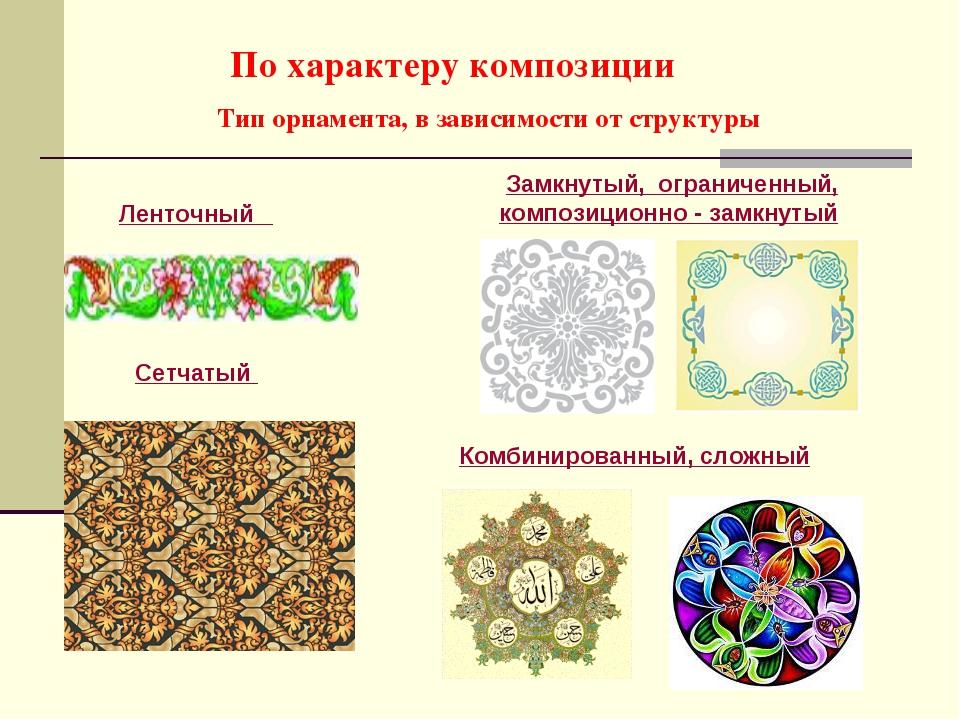 По характеру композиции Тип орнамента, в зависимости от структуры Ленточный З...
