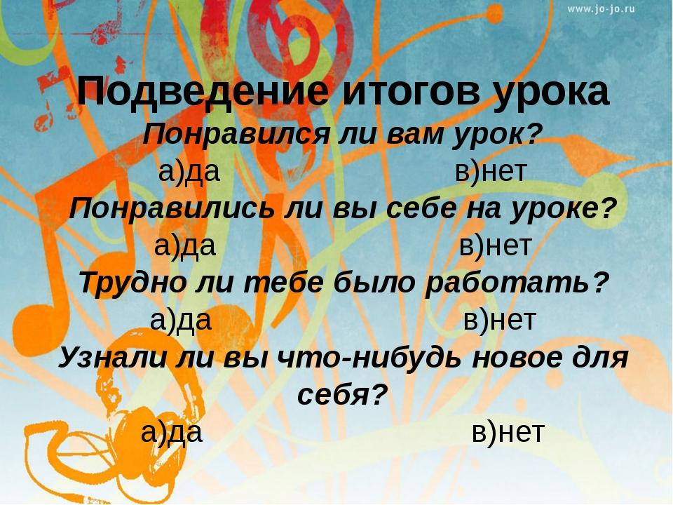 Подведение итогов урока Понравился ли вам урок? а)да в)нет Понравились ли вы...