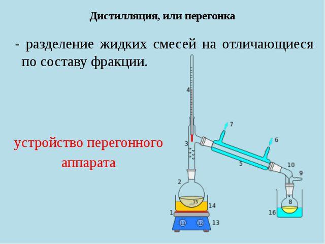Дистилляция, или перегонка - разделение жидких смесей на отличающиеся по сост...