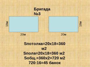 Бригада №3 Sпотолка=20х18=360 м2 Sпола=20х18=360 м2 Sобщ.=360х2=720 м2 720:16