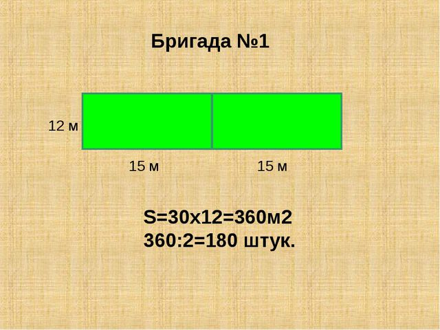 S=30x12=360м2 360:2=180 штук. Бригада №1 15 м 15 м 12 м