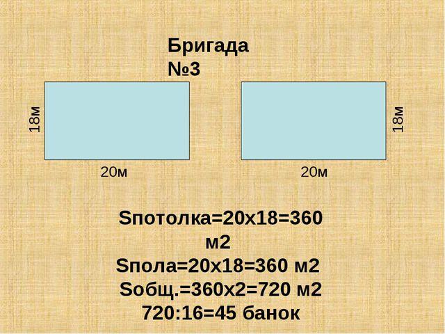 Бригада №3 Sпотолка=20х18=360 м2 Sпола=20х18=360 м2 Sобщ.=360х2=720 м2 720:16...