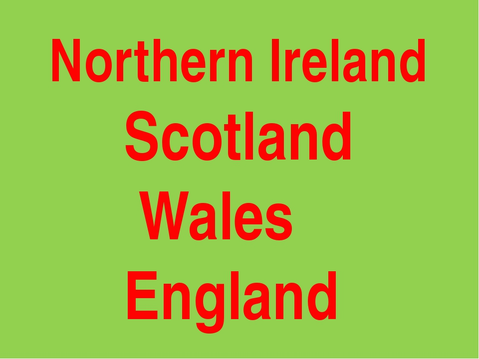 Northern Ireland Scotland Wales England