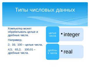 Типы числовых данных Компьютер может обрабатывать целые и дробные числа. Напр