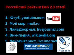 Российский рейтинг Веб 2.0 сетей 1. Ютуб, youtube.com 2. Мой мир, mail.ru 3.