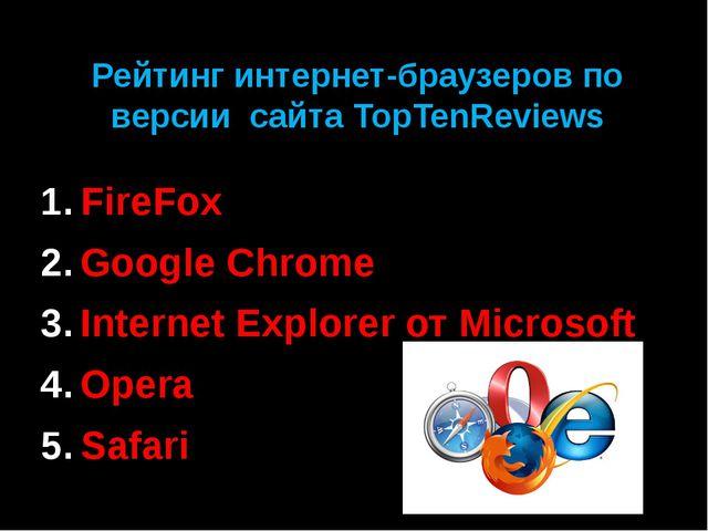 Рейтинг интернет-браузеров по версии сайта TopTenReviews FireFox Google Chrom...