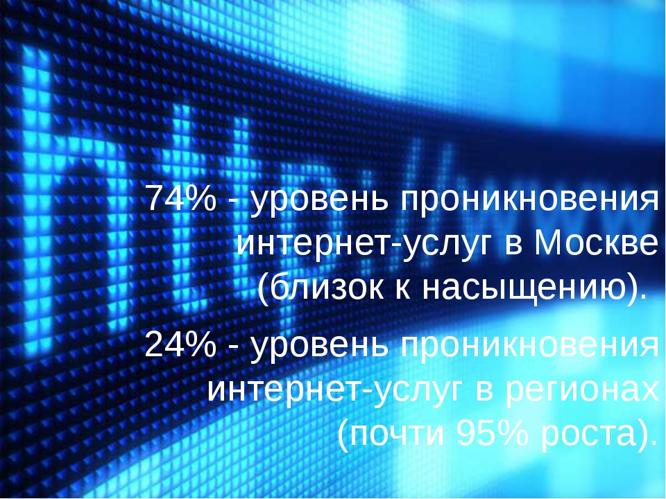 74% - уровень проникновения интернет-услуг в Москве (близок к насыщению). 24...