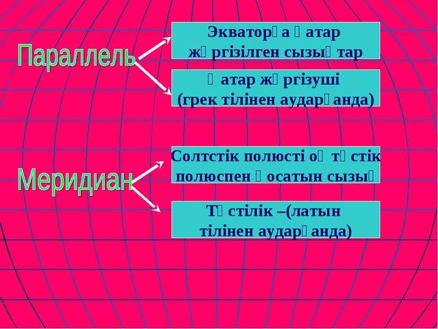 Экваторға қатар жүргізілген сызықтар Қатар жүргізуші (грек тілінен аударғанда...