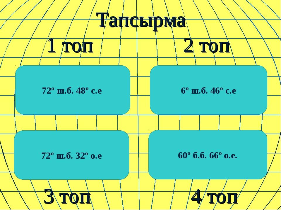 Тапсырма 1 топ 2 топ 3 топ 4 топ 72º ш.б. 48º с.е 60º б.б. 66º о.е. 6º ш.б....