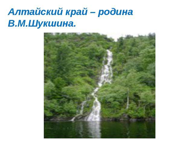 Алтайский край – родина В.М.Шукшина.