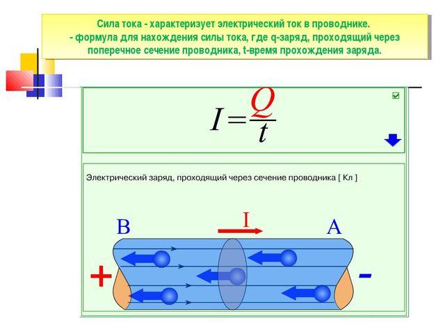 Сила тока - характеризует электрический ток в проводнике. - формула для нахож...