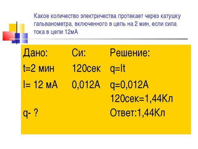 Какое количество электричества протекает через катушку гальванометра, включен...