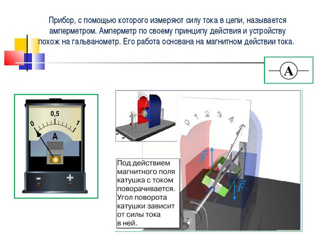 Прибор, с помощью которого измеряют силу тока в цепи, называется амперметром....
