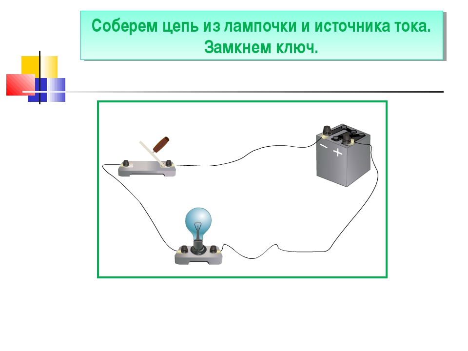Соберем цепь из лампочки и источника тока. Замкнем ключ.