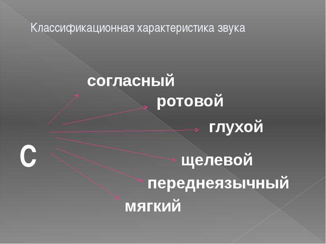 Классификационная характеристика звука С согласный ротовой глухой щелевой пер...