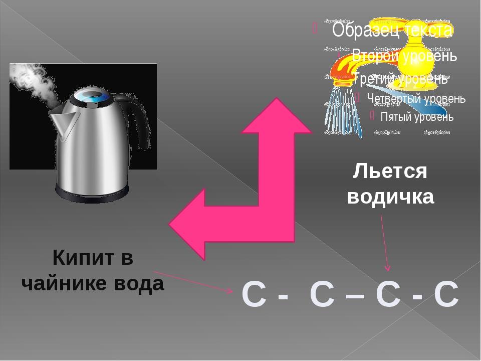 С - С – С - С Льется водичка Кипит в чайнике вода