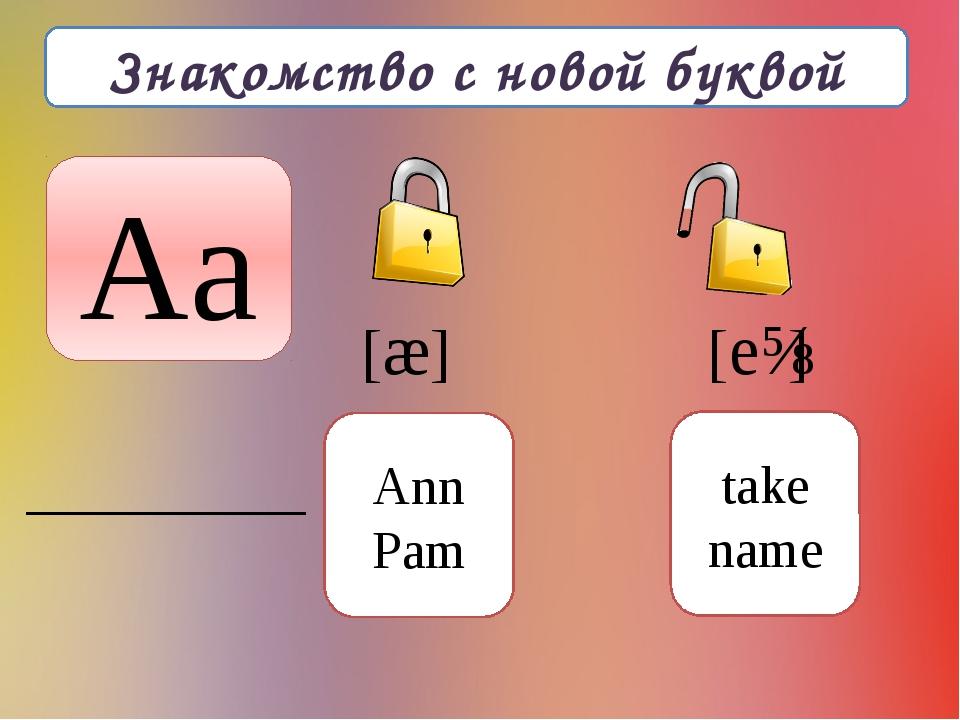 Знакомство с новой буквой Aa [æ] [eɪ] Ann Pam take name