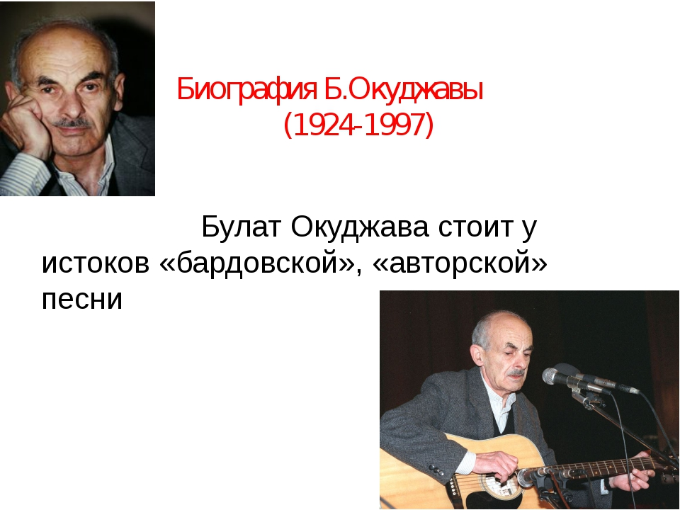 Биография Б.Окуджавы (1924-1997) Булат Окуджава стоит у истоков «бардовской»,...