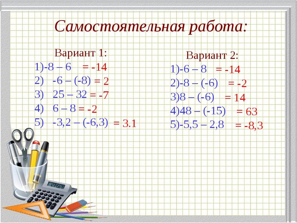 Вариант 1: -8 – 6 2) -6 – (-8) 3) 25 – 32 4) 6 – 8 5) -3,2 – (-6,3) Вариант...