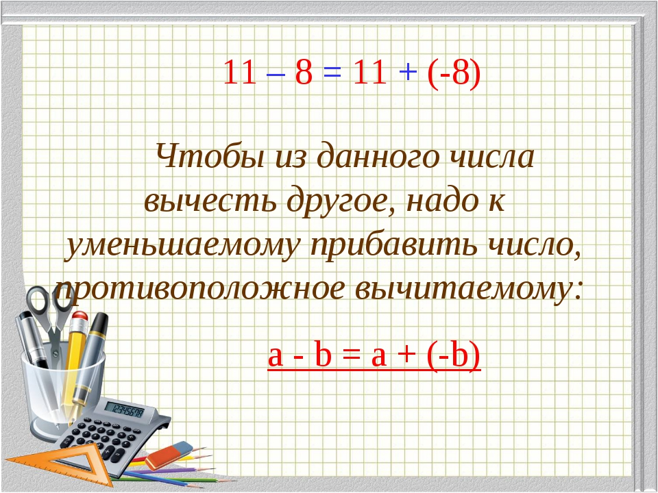 11 – 8 = 11 + (-8) Чтобы из данного числа вычесть другое, надо к уменьшаемом...