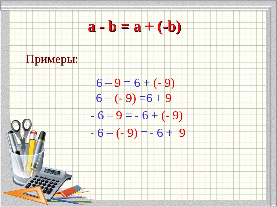 a - b = а + (-b) Примеры: 6 – 9 = 6 + (- 9) 6 – (- 9) = 6 + 9 - 6 – 9 = - 6...