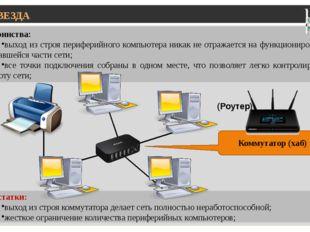 ЗВЕЗДА Достоинства: выход из строя периферийного компьютера никак не отражае