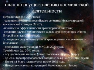 план по осуществлению космической деятельности Первый этап (до 2015 года): -з
