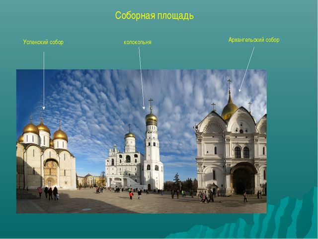 Соборная площадь Успенский собор колокольня Архангельский собор