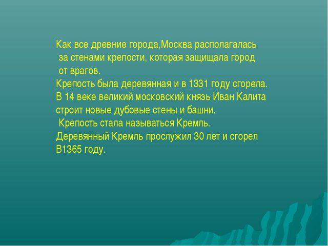 Как все древние города,Москва располагалась за стенами крепости, которая защи...