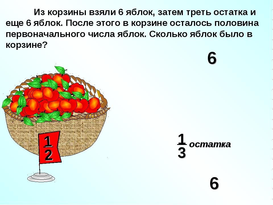 Из корзины взяли 6 яблок, затем треть остатка и еще 6 яблок. После этого в к...